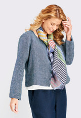 Shown in Midnight Yarn Dye with S/S Crop V in White, Floods in Midnight and Stripe Scarf in Sunshine Stripe.