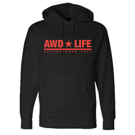 AWD * LIFE Black Hoodie with Red Print
