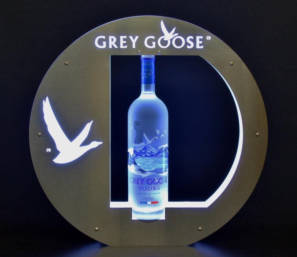 grey goose vodka bottle presenter