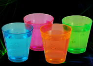 NEON SHOT GLASSES 1 OZ, PARTIES, NEON, GLOW, UV REACTIVE, SHOT GLASS, 2 OZ