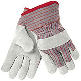 MEMPHIS LEATHER PALM GLOVE RED/GRAY STRIPE FABRIC BACK 1200S
