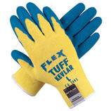 MEMPHIS FLEX TUFF 10 GAUGE KEVLAR GLOVES BLUE LATEX PALM & FINGERS LARGE