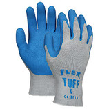 MEMPHIS FLEX TUFF 10 GAUGE COTTON/POLYESTER BLEND GREYSHELL BLUE LATEX DIPPED PALM LARGE