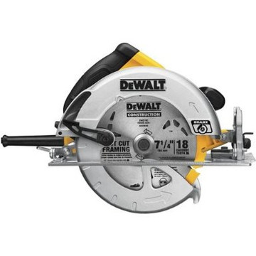 The DEWALT DWE575 circular saw is among one of the lightest saws in its class at 8.8-Pound. It has 57-Degree beveling capacity with stops at 45-Degree and 22.5-Degree. Its clear line of sight aids in blade visibility from any angle and it 15-Amp motor is powerful enough for even the toughest applications. A must-have for general contractors, remodelers, concrete formers, and framers, the DWE575 is ideal for framing walls and cutting plywood, siding, exterior finishing, and more.