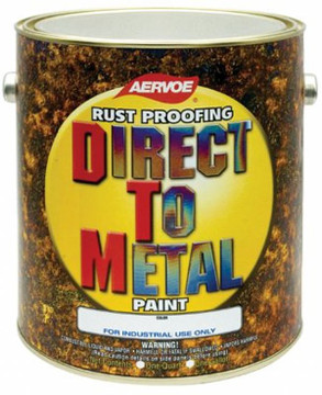 Aervoe DTM (Direct To Metal) Solvent-based Paint - 1 Gallon   Aervoe Direct To Metal (DTM) paint withstands corrosion and exposure from mild to moderate conditions while maintaining high gloss levels.  Color selection includes OSHA safety, HVAC, commercial and selected factory equipment touch-up colors.