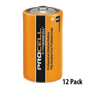 """Duracell Procell """"D"""" Alkaline Battery  Thanks to high quality manufacturing and materials, including Super Conductive Graphite technology in the cathode, Procell batteries provide long-lasting power and outstanding performance. Each battery is tested for voltage and leakage before release to ensure dependable power – even after up to seven years of storage. And they can operate in temperature extremes from -4°F to 130°F. With unparalleled performance that matches the Duracell Coppertop batteries, but with lower costs because of bulk packaging and lower advertising costs, the Duracell Procell batteries are an easy choice. Made in the USA!"""