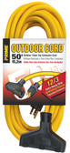 PRIMEᆴ EC600835 50ft outdoor triple tap extension cords are designed for use by contractors and industrial personnel. Jacket protects against rough use, moisture, ozone and gives added flexibility at below freezing temperatures. Molded-on and bonded vinyl plugs and connectors resist breaking or pulling off cord.