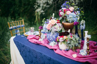 Navy & Fuschia Table setting