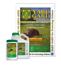 Yard Gard Armadillo Deterrent is made with all natural ingredients and is safe to use around children and pets; it is safe for the ecology and is scientifically proven to work. Money back guaranteed.