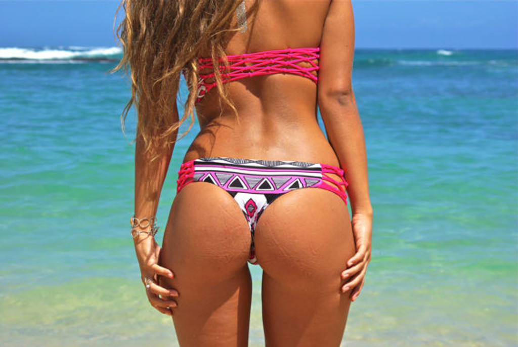 JAWS: REVERSIBLE FISHNET Braided side brazilian bikini