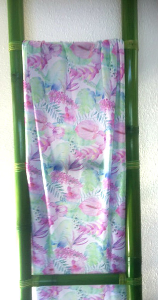 Tropical Flowers on White Sarong