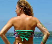 REVERSIBLE: Sacred Lace Up- Corset Bandeau Bikini Top 2 Suits in 1