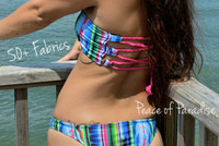 Sacred Reversible Style Lace Up- Corset Bandeau Bikini Top 2 Suits in 1 Customize Size & Choose from 50+ Fabrics
