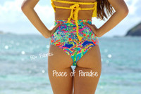 Wawa Scrunch - High Waisted Retro Style Bikini Bottom Customize Size & Choose from 50+ Fabrics