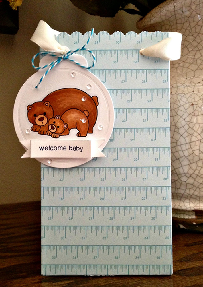 Bear and cub welcome baby card    Wild Child stamp set by Newton's Nook Designs