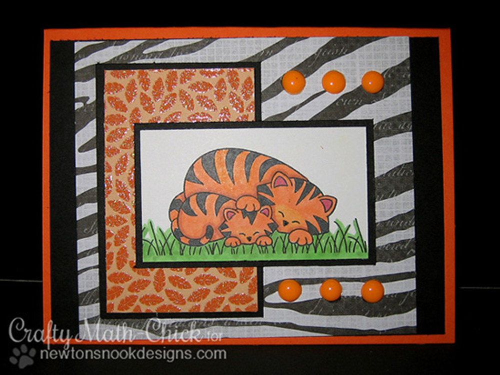 Tiger and cub card    Wild Child stamp set by Newton's Nook Designs