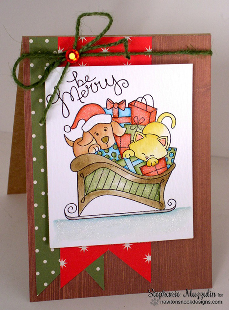 Dog and Cat Christmas Card | Christmas Delivery | 3x4 photopolymer Stamp Set | Newton's Nook Designs