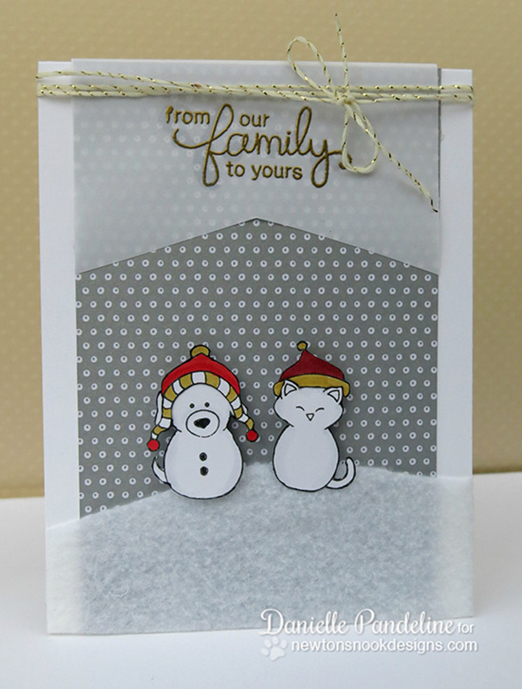 Winter Snowman Dog and Cat Card | Flaky Family | 4x6 photopolymer Stamp Set | Newton's Nook Designs