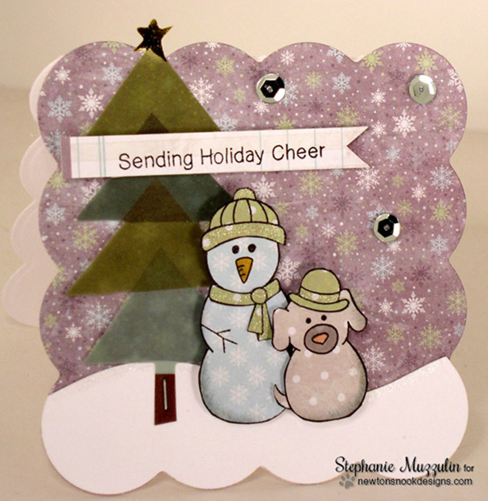 Winter Snowman and Dog Card | Flaky Family | 4x6 photopolymer Stamp Set | Newton's Nook Designs