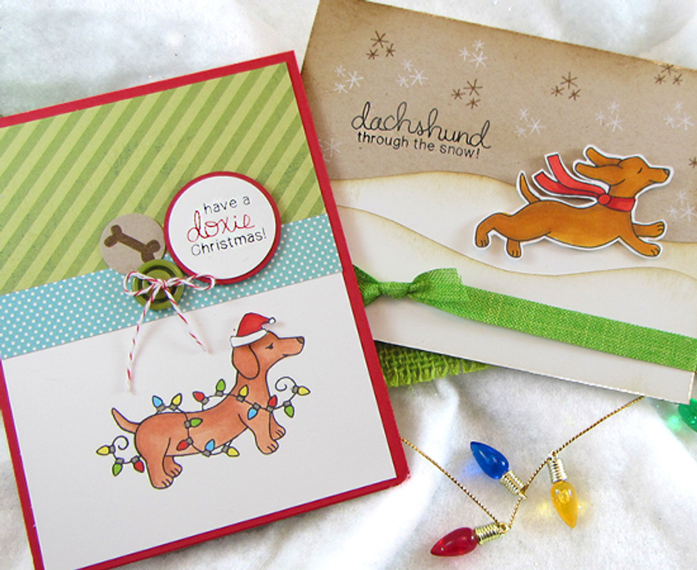 Dachshund Christmas and Winter Cards | Holiday Hounds | 4x6 photopolymer Stamp Set | Newton's Nook Designs