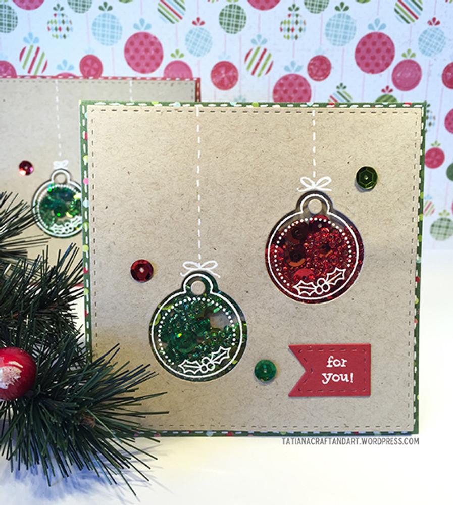 Shaker Ornament Card | Jolly Tags | 4x6 Photopolymer Stamp Set | Newton's Nook Designs