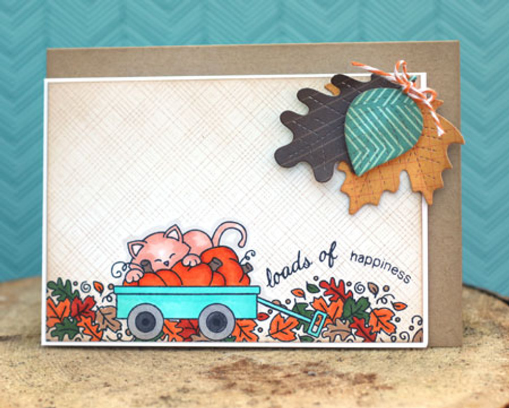 Fall Card with kitty in Wagon    Wagon of Wishes Stamp Set by Newton's Nook Designs.