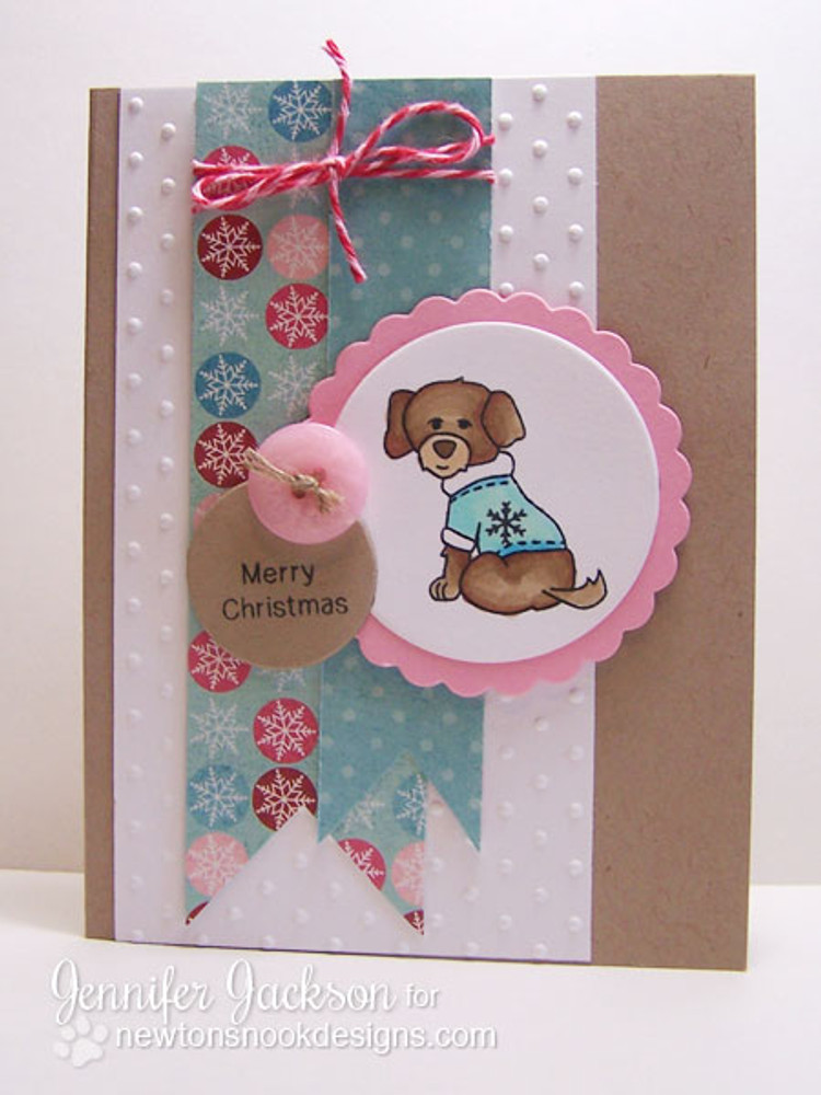 Dog in Sweater Card using Canine Christmas Stamp Set by Newton's Nook Designs