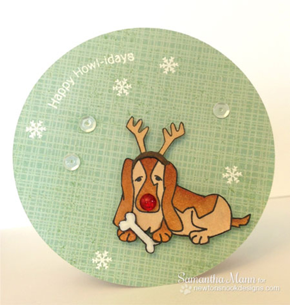 Basset Hound in Antlers Card using Canine Christmas Stamp Set by Newton's Nook Designs