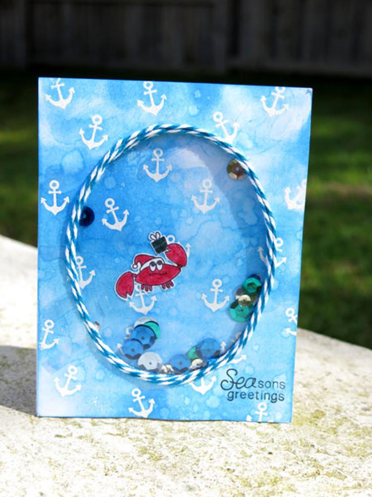 Santa Crab Card using Seasons Greetings Stamp Set by Newton's Nook Designs