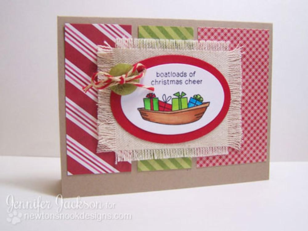 Boatloads of Christmas Cheer card using Seasons Greetings Stamp Set by Newton's Nook Designs
