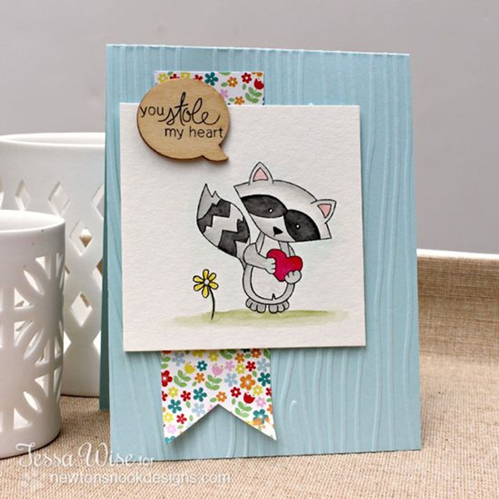 You stole my heart Raccoon Love Card | Sweetheart Tails Stamp Set by Newton's Nook Designs