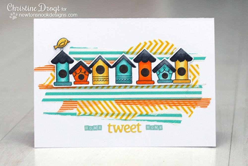Birdhouse card | Tweet Talk stamp set by Newton's Nook Designs.