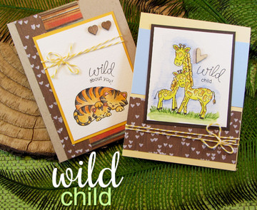 Tiger & Giraffe baby animal cards    Wild Child stamp set by Newton's Nook Designs