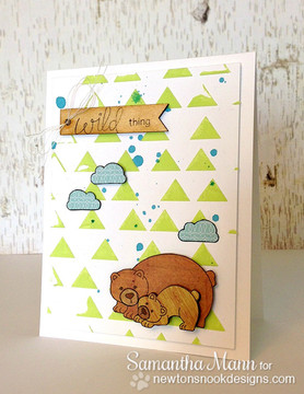 Bear and cub card Wild about you card    Wild Child stamp set by Newton's Nook Designs