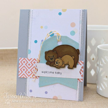 Bear and cub card Baby card    Wild Child stamp set by Newton's Nook Designs
