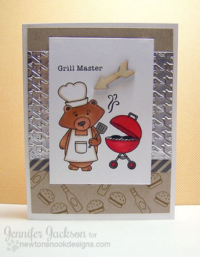 Grill Master Bear BBQ card | Winston's BBQ stamp set by Newton's Nook Designs