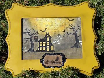 Halloween Frame Home Decor | Spooky Street | 4x6 photopolymer Stamp Set | Newton's Nook Designs