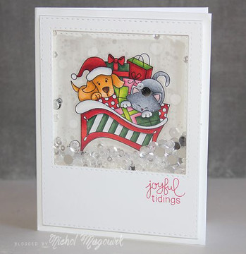 Dog and Cat Sleigh Card | Christmas Delivery | 3x4 photopolymer Stamp Set | Newton's Nook Designs