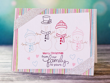 Winter Snowman Family Card | Flaky Family | 4x6 photopolymer Stamp Set | Newton's Nook Designs