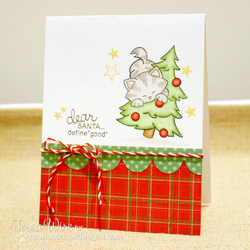 Cat in a Tree Christmas Card | Newton's Curious Christmas | 4x6 photopolymer Stamp Set | Newton's Nook Designs