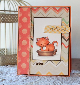 Naughty Cat Card | Naughty Newton | 4x6 photopolymer Stamp Set | Newton's Nook Designs
