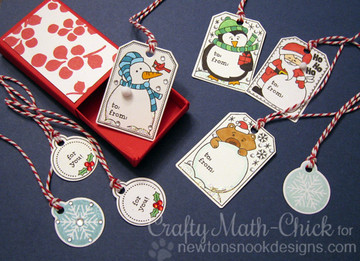 Set of Holiday Tags |Jolly Tags | 4x6 Photopolymer Stamp Set | Newton's Nook Designs
