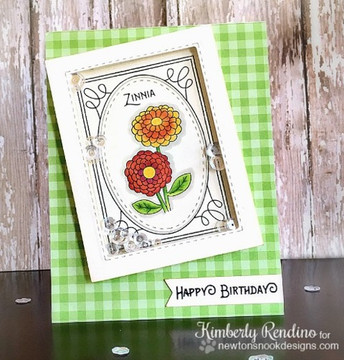 Zinnia shaker card using Garden Starter Stamp Set by Newton's Nook Designs