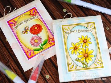 Daisy and Zinnia Flower cards using Garden Starter Stamp Set by Newton's Nook Designs