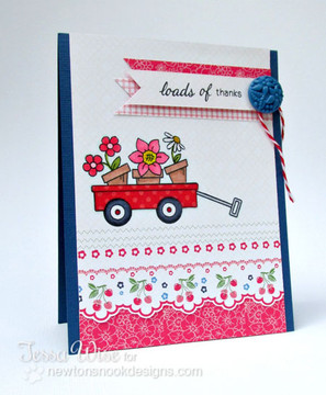 Flowers in Wagon Card    Wagon of Wishes Stamp Set by Newton's Nook Designs.