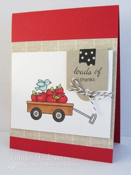 Loads of Thanks Apples in Wagon card    Wagon of Wishes Stamp Set by Newton's Nook Designs.