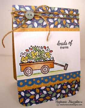 Happy Harvest Fall Wagon Card   Wagon of Wishes Stamp Set by Newton's Nook Designs.