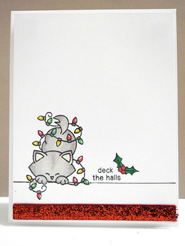 Cat in christmas lights Card | Newton's Holiday Mischief Stamp Set by Newton's Nook Designs