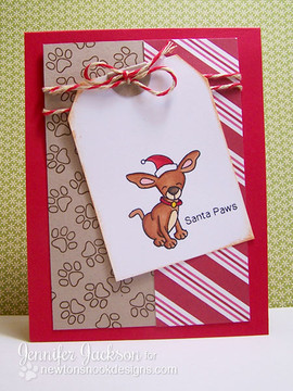 Dog in Santa Hat Card using Canine Christmas Stamp Set by Newton's Nook Designs