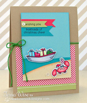 Holiday Crab card using Seasons Greetings Stamp Set by Newton's Nook Designs